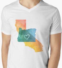 I Love California and Oregon Men's V-Neck T-Shirt