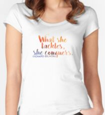 What She Tackles, She Conquers Women's Fitted Scoop T-Shirt