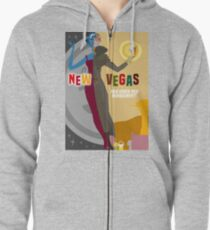Vintage New Vegas Tourism Poster: Platinum Chip Zipped Hoodie
