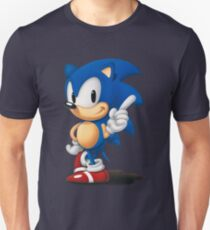 The Classic Blue Hedgehog (white background) Unisex T-Shirt