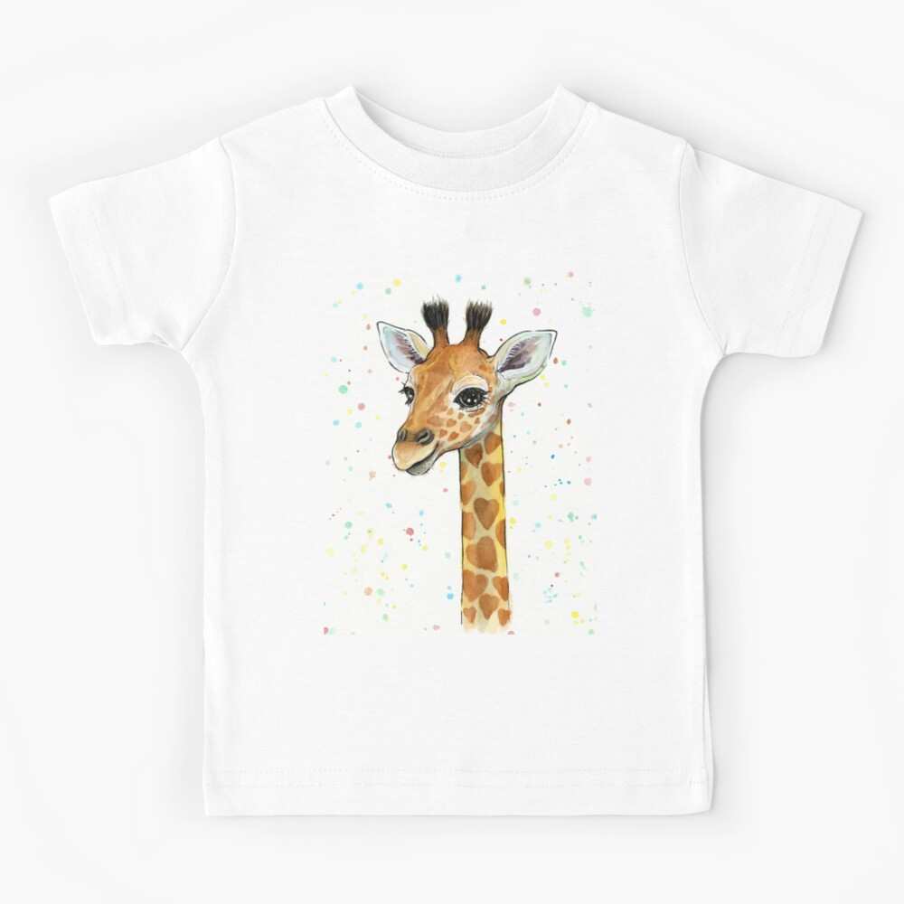 Baby Giraffe with Hearts Watercolor Animal Kids T-Shirt