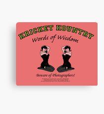 KRICKET KOUNTRY Words of Wisdom on PHOTOGRAPHERS! Canvas Print