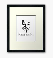 'Remember, remember' Guy Fawkes Framed Print