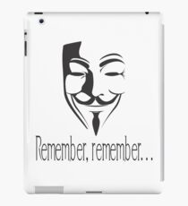 'Remember, remember' Guy Fawkes iPad Case/Skin