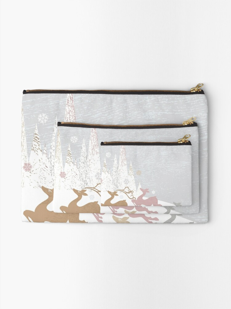 Alternate view of Winter Deer Zipper Pouch