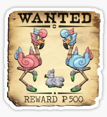 Dual Flamingo Family - Most Wanted Poster Sticker