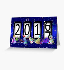 New Years Odometer Party Hats Greeting Card