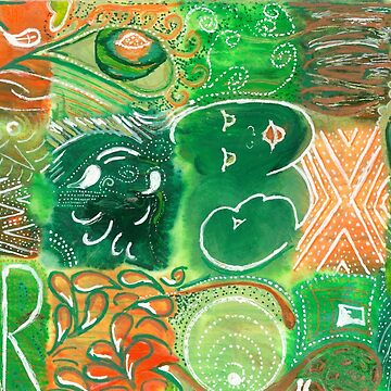 Far - green and orange ink on watercolour by LouiseEbreyHill