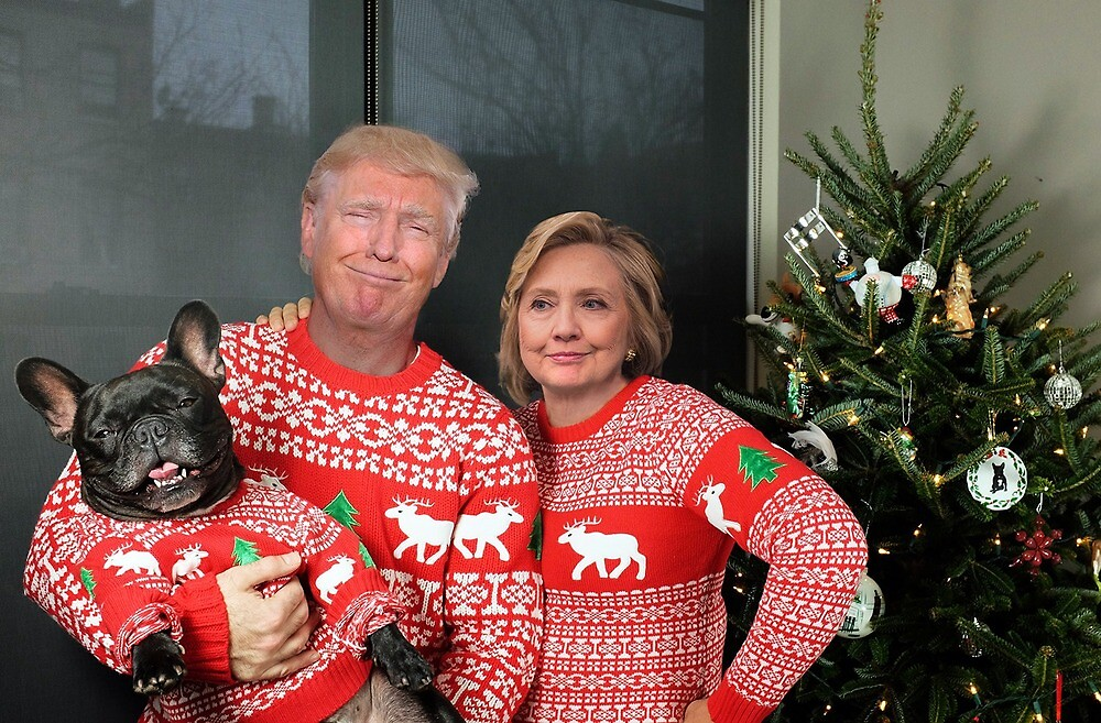 Hillary Clinton Christmas.Hillary Clinton And Trump Christmas By Gundulf Redbubble
