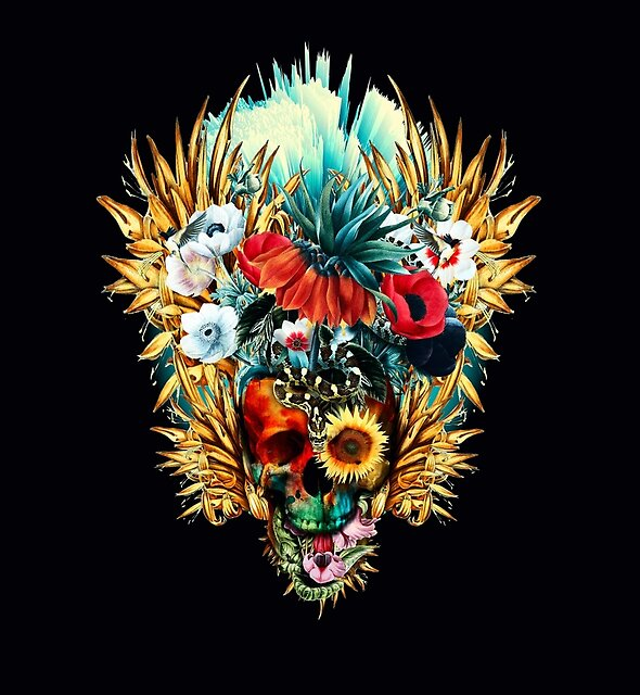 Floral Skull Vivid by RIZA PEKER