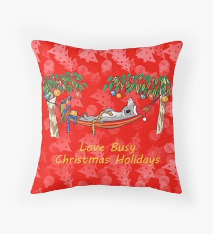 Koala Relaxing on its Hammock – Love Busy Christmas Holidays!  Throw Pillow