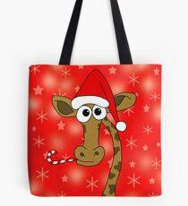 Xmas giraffe - red Tote Bag