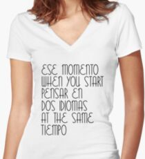 Ese Momento When You Start Spanish Student English Learner Spain Espanol Mexico Colombia Argentina Peru Women's Fitted V-Neck T-Shirt
