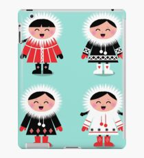 Happy eskimo children in vintage style. Cyan and red. iPad Case/Skin