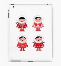 Cute eskimo children in red coat. Vector retro illustration iPad Case/Skin