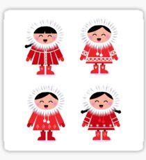 Cute eskimo children in red coat. Vector retro illustration Sticker