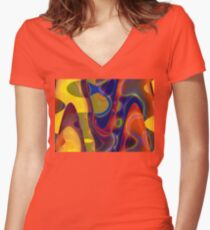 Pastel Colours Women's Fitted V-Neck T-Shirt