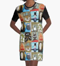 Studio Ghibli Collage - Calcifer, Jiji, Turnip, No Face, Markl, Kodama, Cat Bus & Soot Sprites Graphic T-Shirt Dress