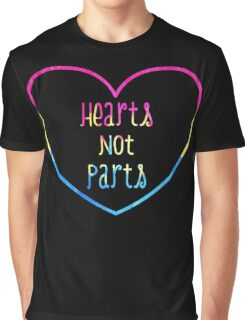 Hearts not Parts Pansexual pride Graphic T-Shirt