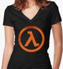 °GEEK° Half Life Rust Logo Women's Fitted V-Neck T-Shirt