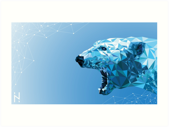 ice bear polygon design art prints by niklas heinzel redbubble