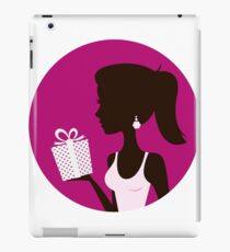 Female with gift silhouette. Retro vector Illustration iPad Case/Skin