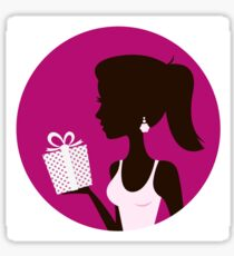 Female with gift silhouette. Retro vector Illustration Sticker