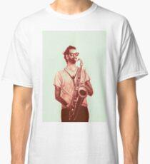 Romantic saxophone performer. Drawing of Street Musician. Illustration Classic T-Shirt