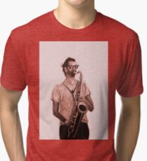 Romantic saxophone performer. Drawing of Street Musician. Illustration Tri-blend T-Shirt