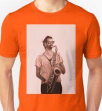 Romantic saxophone performer. Drawing of Street Musician. Illustration T-Shirt