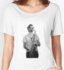 Romantic saxophone performer. Drawing of Street Musician. Illustration Women's Relaxed Fit T-Shirt