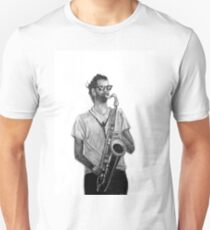 Romantic saxophone performer. Drawing of Street Musician. Illustration T-Shirt