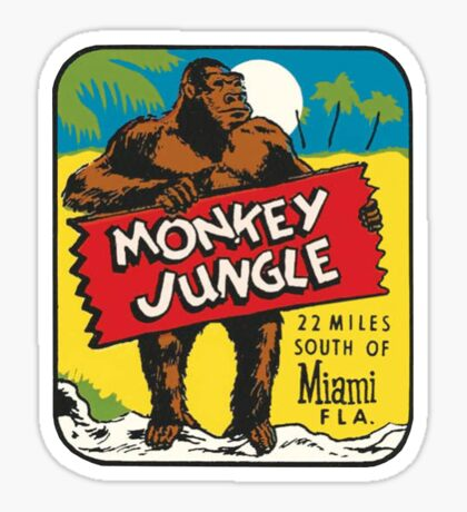 Monkey Jungle Miami Vintage Travel Decal Sticker