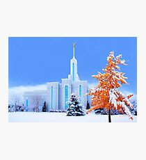 Mt. Timpanogos Temple Early Snow 20x30 Photographic Print