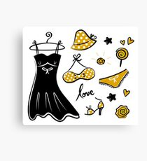 Old - yellow designers fashion for woman. Art is original hand-drawn Canvas Print