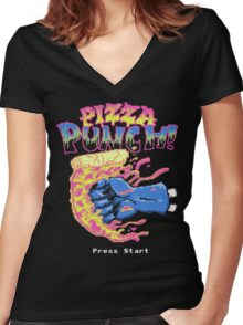 Pizza Punch Women's Fitted V-Neck T-Shirt