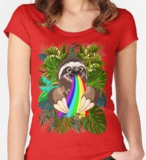 Sloth Spitting Rainbow Colors Women's Fitted Scoop T-Shirt