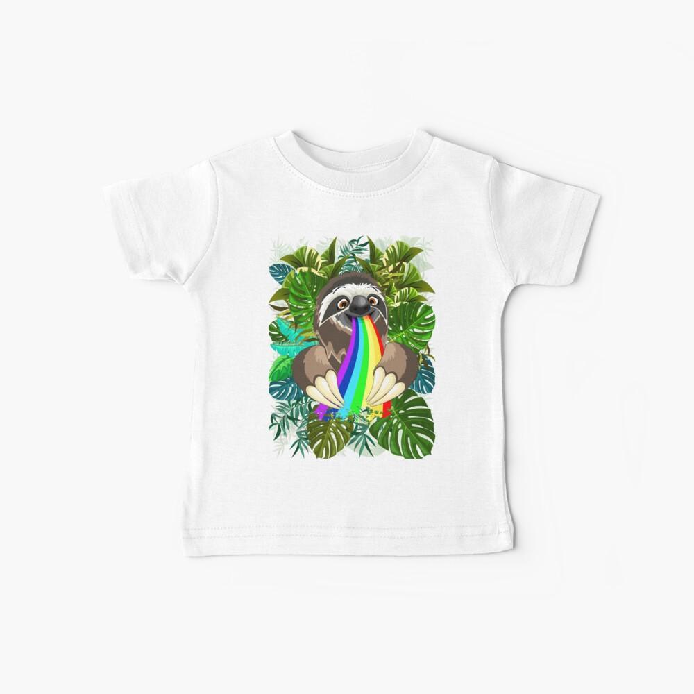 Sloth Spitting Rainbow Colors Baby T-Shirt