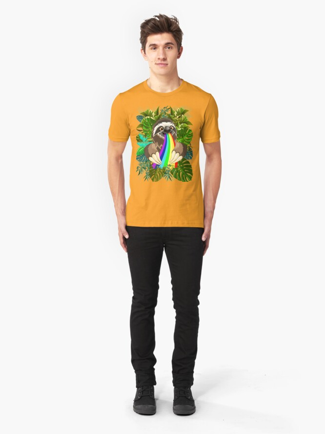Alternate view of Sloth Spitting Rainbow Colors Slim Fit T-Shirt