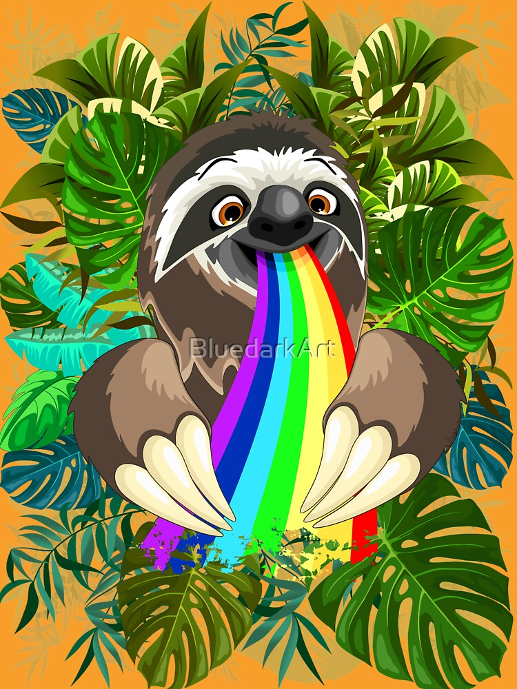 Sloth Spitting Rainbow Colors by BluedarkArt