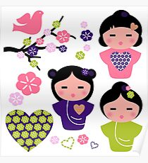 Little love Geishas, love design elements Poster