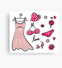 Red fashion accessories or items for woman Canvas Print