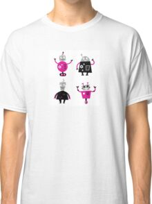 Cute cartoon robot characters : pink and black  Classic T-Shirt