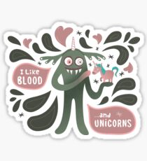 Spooky and cute vampire monster with unicorn Sticker