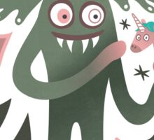 Spooky vampire monster with unicorn Sticker