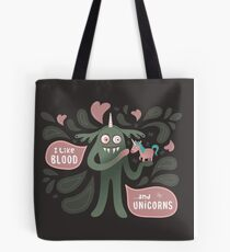 Spooky vampire monster with unicorn Tote Bag