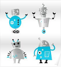 Cute cartoon robot characters. Old - vintage style robots Poster