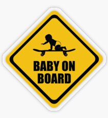 Skateboarding Baby on Board Transparent Sticker