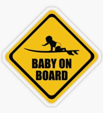 Surfing Baby on Board Transparent Sticker
