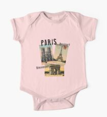Paris Eiffel Tower Postcard One Piece - Short Sleeve